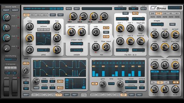 پلاگین Spire یک سینتی سایزر چند صدایی (Polyphonic) نرمافزاری است